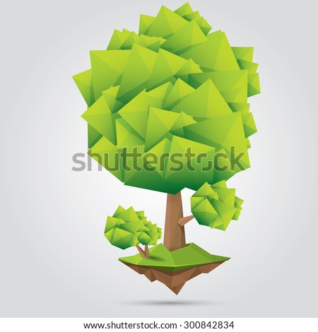 summer Conceptual polygonal geometric green tree. Abstract vector Illustration, low poly style. Stylized design element. Background design for banner, poster, flyer, cover, brochure. Logo design.