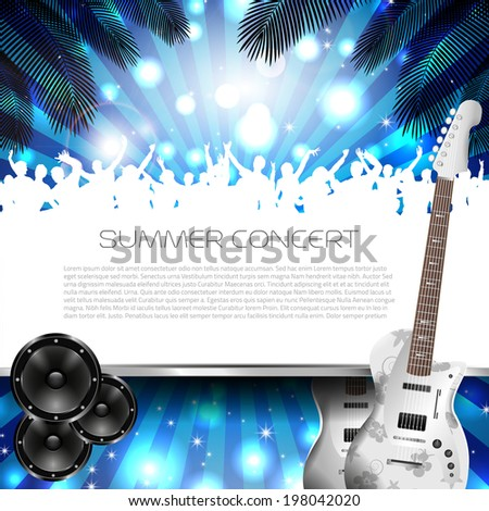 Summer Concert Background with Instruments - Vector with place for your text - stock vector
