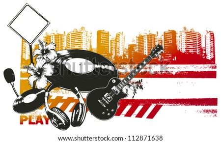 summer concert in hot city - stock vector