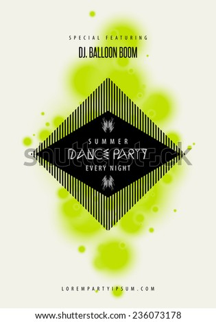 Summer Dance party music poster template. Text instructions included hidden layer. Vector abstract background suitable for flyer, banner, cover, brochure, wallpaper, advertising and web design. - stock vector