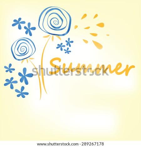 summer dandelions stylish vector background - stock vector