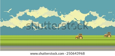 summer day at the farmer's field, we are working on the field goes harvester - stock vector