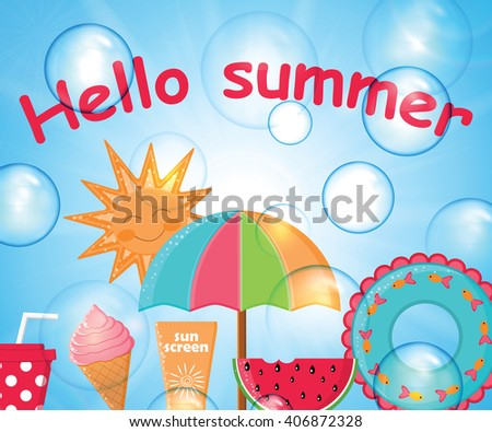 Summer day background vector.Summer poster.Summer Holidays
