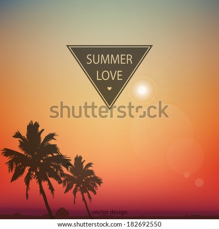 Summer day background with palm tree. Minimalistic multifunctional media backdrop. Vector. Editable.  - stock vector