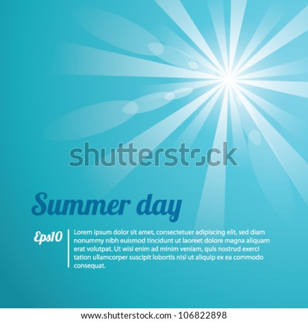 Summer Day Blue Background Vector - stock vector