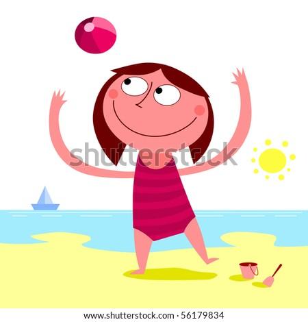 Summer day on the beach - vector - stock vector