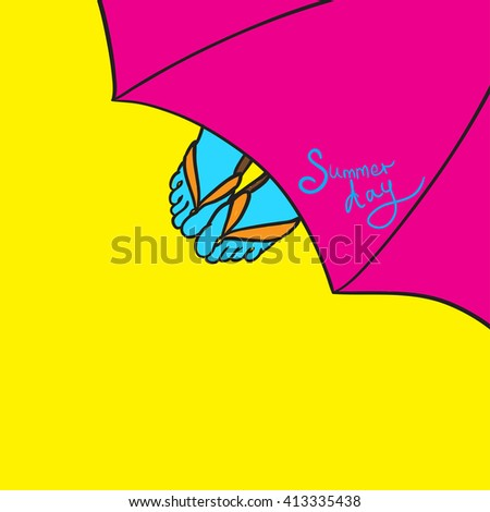 summer day. relax on the beach. vector illustration - stock vector
