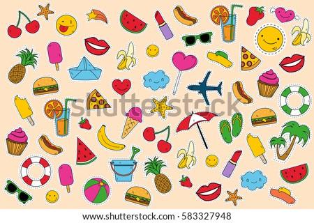 Summer day, set of elements clip art. Set sticker. Vector illustration. Summer background