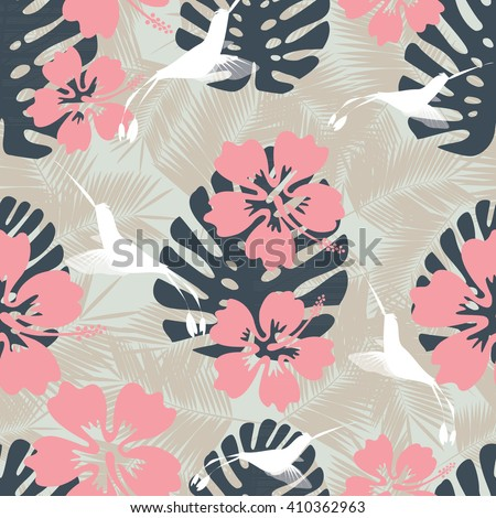 Summer denim camouflage hawaiian seamless pattern with hibiscus flowers and splashes vector illustration