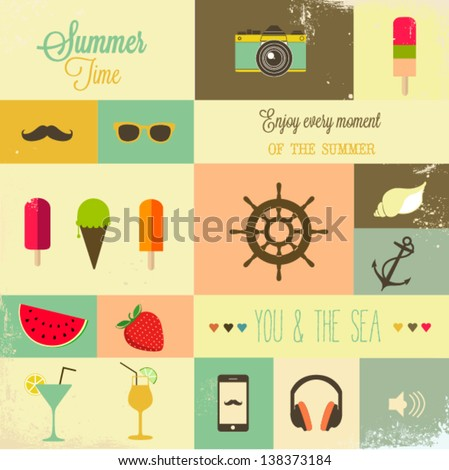 Summer design elements - stock vector