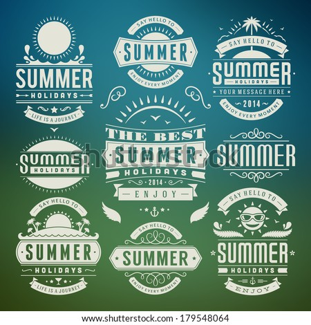 Summer design elements and typography design. Retro and vintage templates. Flourishes calligraphic ornaments, labels, badges, cards. Vector set.  - stock vector