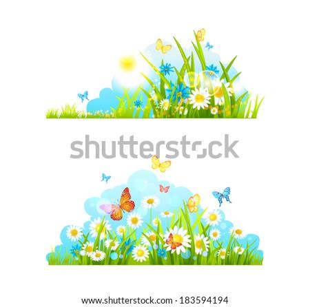 Summer design elements. Vector grass, flowers and butterflies.  - stock vector