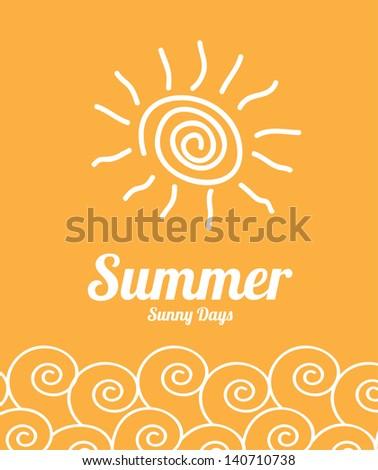 summer design over orange background vector illustration - stock vector