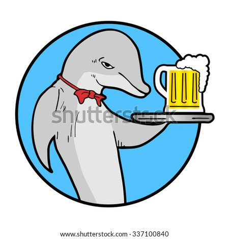 summer dolphin beer icon - stock vector