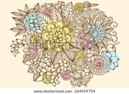 Summer doodle flowers. Beautiful floral pattern - stock vector