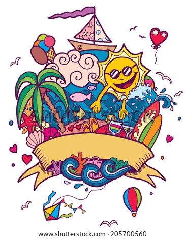 Summer Doodle: Hand drawn summer doodle. No transparency and gradients used.   - stock vector