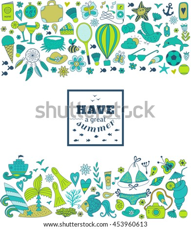 Summer doodle hand drawn vector elements and objects, beach symbols.