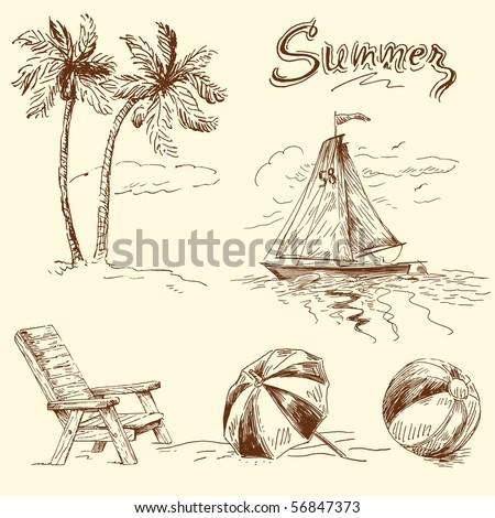 summer doodles - stock vector