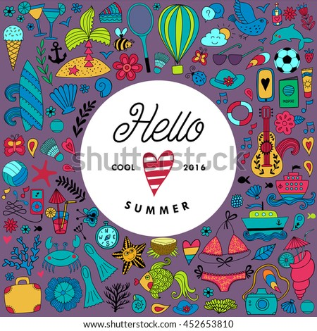 Summer doodles design, travel vacation illustration in wreath shape.