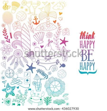 Summer doodles design, travel vacation illustration, ocean and beach concept. - stock vector