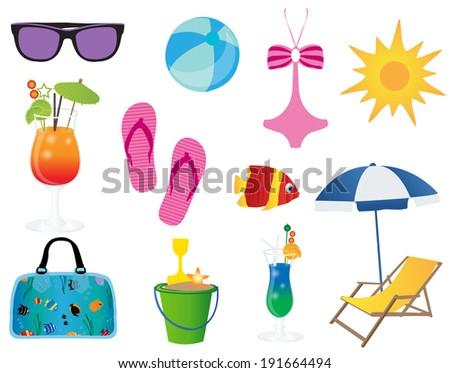 Summer elements - stock vector