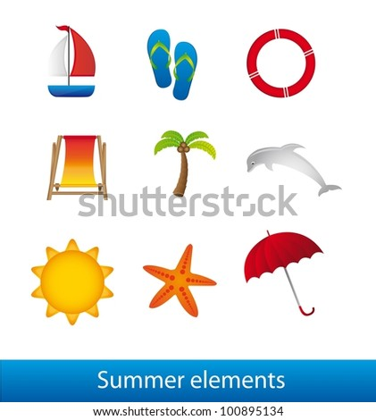 summer elements isolated over white background. vector - stock vector
