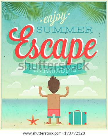 Summer Escape poster. Vector illustration. - stock vector