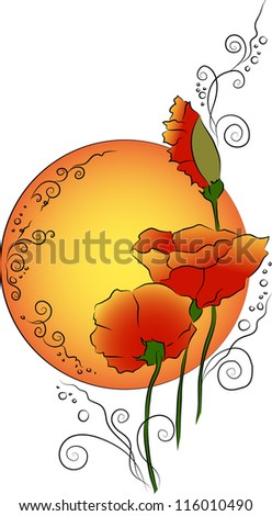 Summer ethnic design with sunset and ornamental poppies. Vector