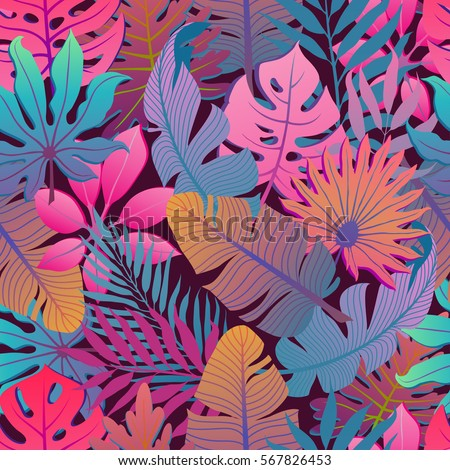 Summer Exotic Floral Tropical Palm Banana Leaves Background Vector Abstract Memphis Seamless Pattern