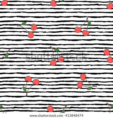 Summer fashion print with hand drawn red cherries on a black and white stripes background.  Vector seamless pattern. - stock vector