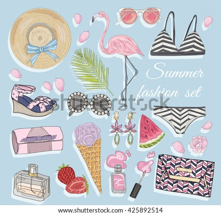 Summer fashion vector accessories set. Background with bags, sunglasses, shoes, jewelery, makeup, swimsuit, flamingo, ice cream, strawberry and flowers. - stock vector