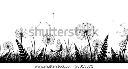 Summer Field With Grass And Dandelions In Black White