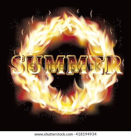 Summer fire flames card, vector illustration