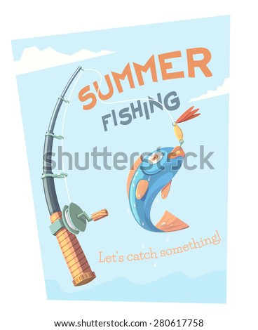 Summer fishing. Vector illustration. - stock vector