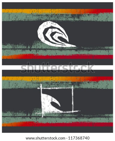 summer flags with waves - stock vector