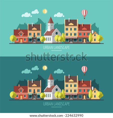 Summer - flat design urban landscape illustration - stock vector