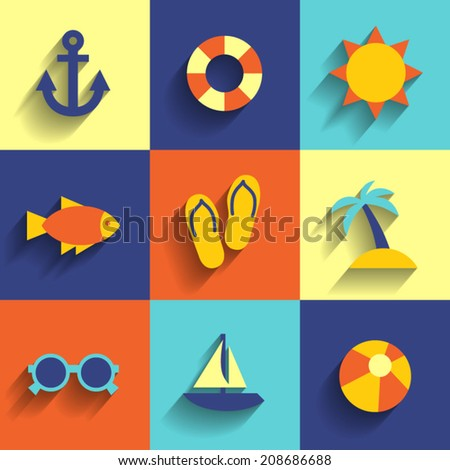 summer flat icons