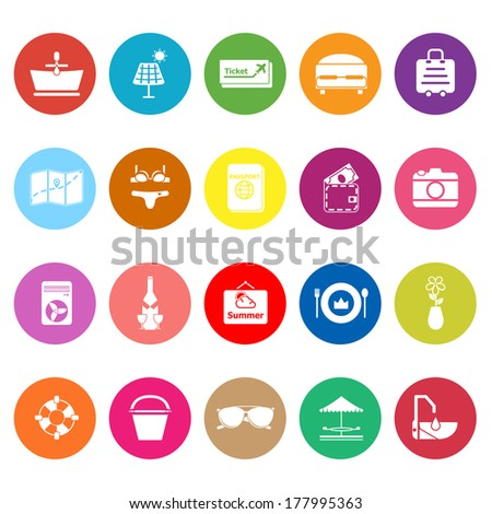Summer flat icons on white background, stock vector