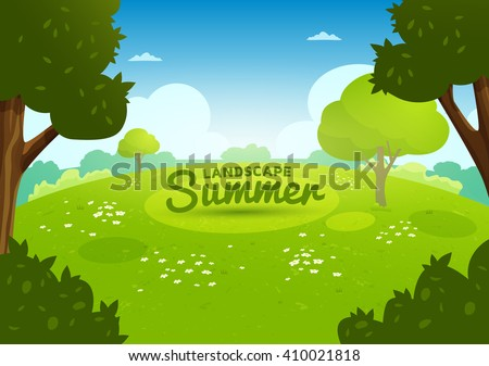 Summer flat landscape. Summer cartoon background. Meadow with flowers in the forest - stock vector