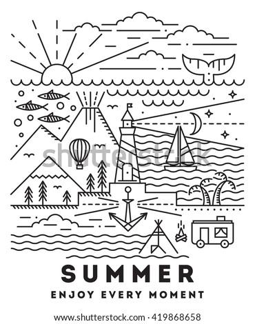 Summer flat line art illustration - stock vector