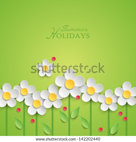 Summer floral background with paper daisy flowers. Vector illustration - stock vector