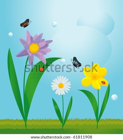 summer floral design - stock vector