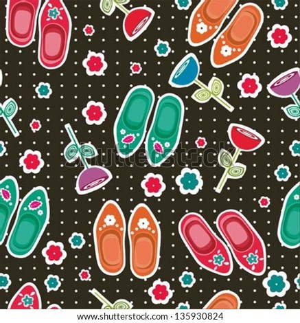 summer floral garden and clogs seamless pattern - stock vector