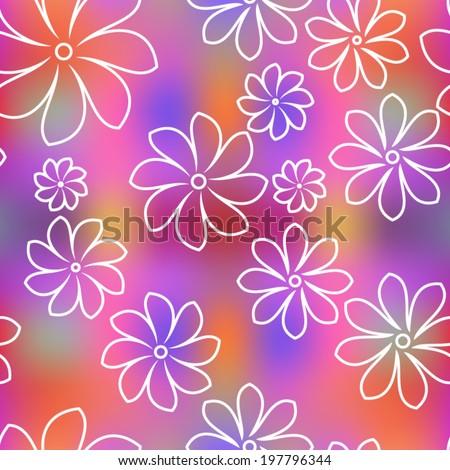 Summer floral garden seamless pattern - stock vector
