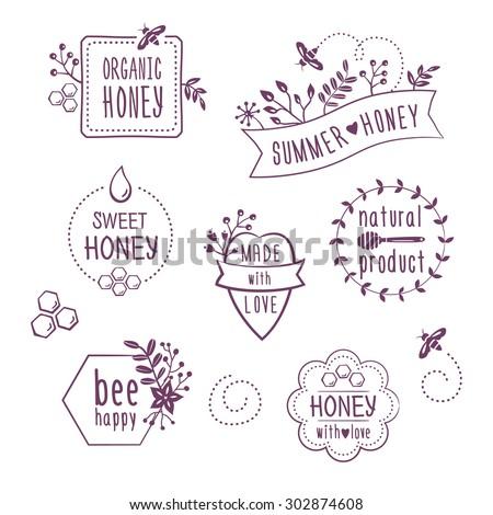 Summer floral honey labels, badges, organic honey logos - stock vector