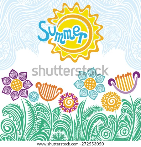 Summer floral nature pattern background vector illustration - stock vector
