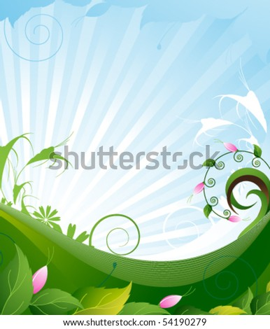 Summer flowering meadow. Bright sunny landscape. - stock vector