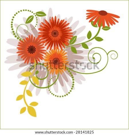 summer flowers and foliage - stock vector