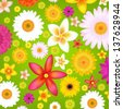 Summer Flowers Background With Gradient Mesh, Vector Illustration - stock vector