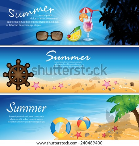 Summer Flyer Template Vector Illustration Graphic Stock Vector